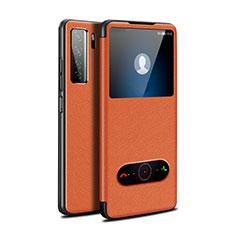 Handytasche Stand Schutzhülle Flip Leder Hülle T01 für Huawei P40 Lite 5G Orange
