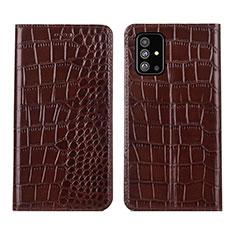 Handytasche Stand Schutzhülle Flip Leder Hülle T01 für Samsung Galaxy A51 5G Braun