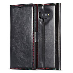 Handytasche Stand Schutzhülle Flip Leder Hülle T01 für Samsung Galaxy Note 9 Schwarz