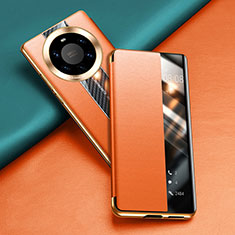 Handytasche Stand Schutzhülle Flip Leder Hülle T02 für Huawei Mate 40 Pro+ Plus Orange