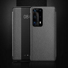 Handytasche Stand Schutzhülle Flip Leder Hülle T02 für Huawei P40 Pro+ Plus Schwarz