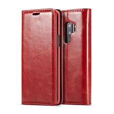 Handytasche Stand Schutzhülle Flip Leder Hülle T02 für Samsung Galaxy S9 Plus Rot
