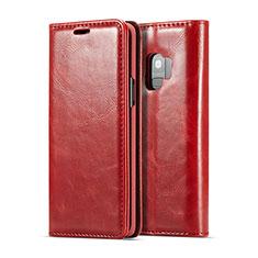 Handytasche Stand Schutzhülle Flip Leder Hülle T02 für Samsung Galaxy S9 Rot