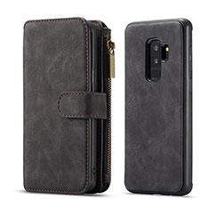 Handytasche Stand Schutzhülle Flip Leder Hülle T03 für Samsung Galaxy S9 Plus Schwarz