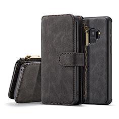 Handytasche Stand Schutzhülle Flip Leder Hülle T03 für Samsung Galaxy S9 Schwarz