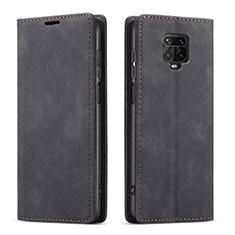 Handytasche Stand Schutzhülle Flip Leder Hülle T03 für Xiaomi Redmi Note 9 Pro Schwarz