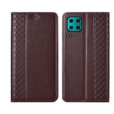 Handytasche Stand Schutzhülle Flip Leder Hülle T06 für Huawei P40 Lite Braun