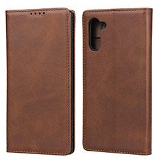 Handytasche Stand Schutzhülle Flip Leder Hülle T07 für Samsung Galaxy Note 10 5G Braun