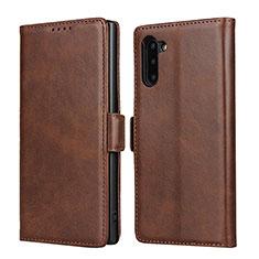 Handytasche Stand Schutzhülle Flip Leder Hülle T08 für Samsung Galaxy Note 10 5G Braun