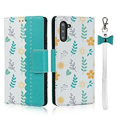 Handytasche Stand Schutzhülle Flip Leder Hülle T10 für Samsung Galaxy Note 10 5G Cyan