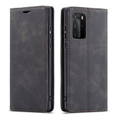 Handytasche Stand Schutzhülle Flip Leder Hülle T15 für Huawei P40 Pro Schwarz