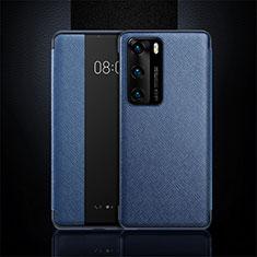 Handytasche Stand Schutzhülle Flip Leder Hülle T16 für Huawei P40 Blau