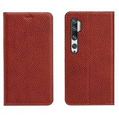 Handytasche Stand Schutzhülle Flip Leder Hülle T16 für Xiaomi Mi Note 10 Braun