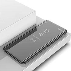Handytasche Stand Schutzhülle Flip Leder Rahmen Spiegel Tasche für Apple iPhone 12 Pro Max Schwarz