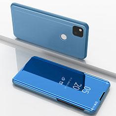 Handytasche Stand Schutzhülle Flip Leder Rahmen Spiegel Tasche für Google Pixel 4a Blau