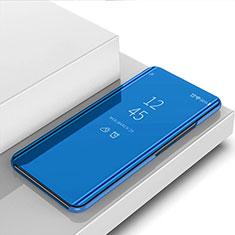Handytasche Stand Schutzhülle Flip Leder Rahmen Spiegel Tasche für Huawei Y7a Blau