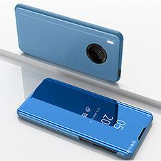 Handytasche Stand Schutzhülle Flip Leder Rahmen Spiegel Tasche für Huawei Y9a Blau