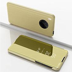 Handytasche Stand Schutzhülle Flip Leder Rahmen Spiegel Tasche für Huawei Y9a Gold