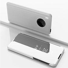 Handytasche Stand Schutzhülle Flip Leder Rahmen Spiegel Tasche für Huawei Y9a Silber