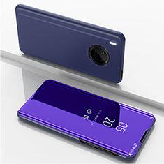 Handytasche Stand Schutzhülle Flip Leder Rahmen Spiegel Tasche für Huawei Y9a Violett