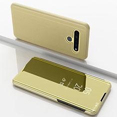 Handytasche Stand Schutzhülle Flip Leder Rahmen Spiegel Tasche für LG K61 Gold