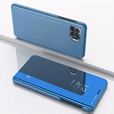Handytasche Stand Schutzhülle Flip Leder Rahmen Spiegel Tasche für Oppo F17 Pro Blau