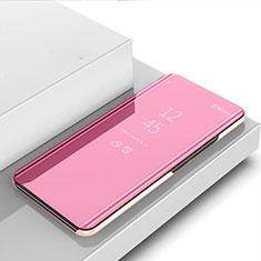 Handytasche Stand Schutzhülle Flip Leder Rahmen Spiegel Tasche für Samsung Galaxy A31 Rosegold