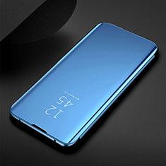 Handytasche Stand Schutzhülle Flip Leder Rahmen Spiegel Tasche für Samsung Galaxy M30s Blau