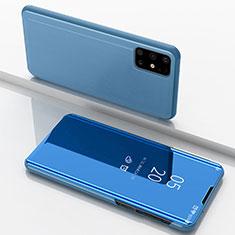 Handytasche Stand Schutzhülle Flip Leder Rahmen Spiegel Tasche für Samsung Galaxy M51 Blau