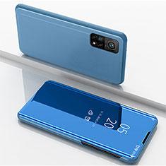 Handytasche Stand Schutzhülle Flip Leder Rahmen Spiegel Tasche für Xiaomi Mi 10T 5G Blau