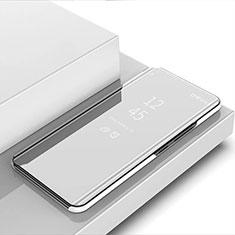 Handytasche Stand Schutzhülle Flip Leder Rahmen Spiegel Tasche für Xiaomi Mi Note 10 Lite Silber