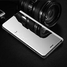 Handytasche Stand Schutzhülle Flip Leder Rahmen Spiegel Tasche L01 für Huawei Y7a Silber