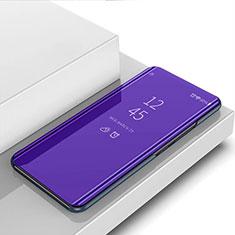 Handytasche Stand Schutzhülle Flip Leder Rahmen Spiegel Tasche L01 für Motorola Moto G8 Plus Violett