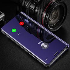 Handytasche Stand Schutzhülle Flip Leder Rahmen Spiegel Tasche L01 für Oppo A12 Violett