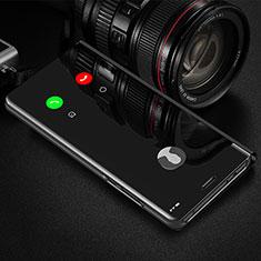 Handytasche Stand Schutzhülle Flip Leder Rahmen Spiegel Tasche L01 für Xiaomi Redmi 9i Schwarz