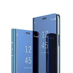 Handytasche Stand Schutzhülle Flip Leder Rahmen Spiegel Tasche L02 für Huawei Y7a Blau