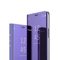 Handytasche Stand Schutzhülle Flip Leder Rahmen Spiegel Tasche L02 für Huawei Y7a Violett