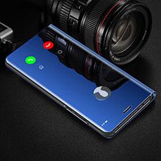 Handytasche Stand Schutzhülle Flip Leder Rahmen Spiegel Tasche L02 für Huawei Y8p Blau