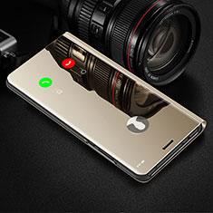 Handytasche Stand Schutzhülle Flip Leder Rahmen Spiegel Tasche L02 für Motorola Moto G8 Plus Gold
