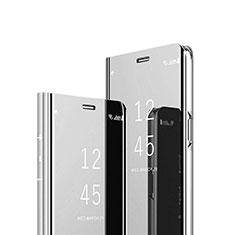 Handytasche Stand Schutzhülle Flip Leder Rahmen Spiegel Tasche L02 für Motorola Moto G9 Plus Silber