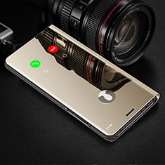 Handytasche Stand Schutzhülle Flip Leder Rahmen Spiegel Tasche L02 für Realme 6s Gold