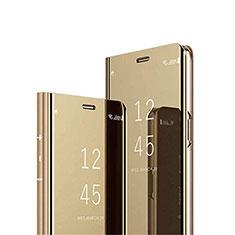 Handytasche Stand Schutzhülle Flip Leder Rahmen Spiegel Tasche L02 für Samsung Galaxy M31s Gold