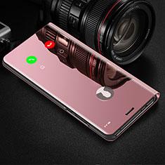 Handytasche Stand Schutzhülle Flip Leder Rahmen Spiegel Tasche L02 für Xiaomi Mi Note 10 Lite Rosa