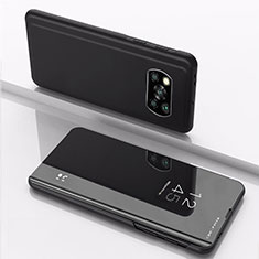 Handytasche Stand Schutzhülle Flip Leder Rahmen Spiegel Tasche L03 für Xiaomi Poco X3 NFC Schwarz