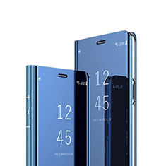 Handytasche Stand Schutzhülle Flip Leder Rahmen Spiegel Tasche M02 für Huawei Nova 7i Blau