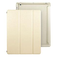 Handytasche Stand Schutzhülle Leder für Apple iPad 3 Gold
