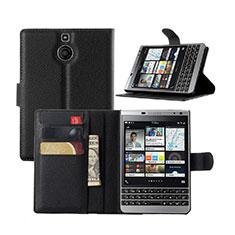 Handytasche Stand Schutzhülle Leder für Blackberry Passport Silver Edition Schwarz