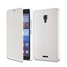 Handytasche Stand Schutzhülle Leder für Huawei Ascend Mate 2 Weiß