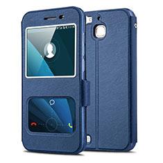 Handytasche Stand Schutzhülle Leder für Huawei Enjoy 5S Blau