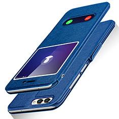 Handytasche Stand Schutzhülle Leder für Huawei Enjoy 7S Blau